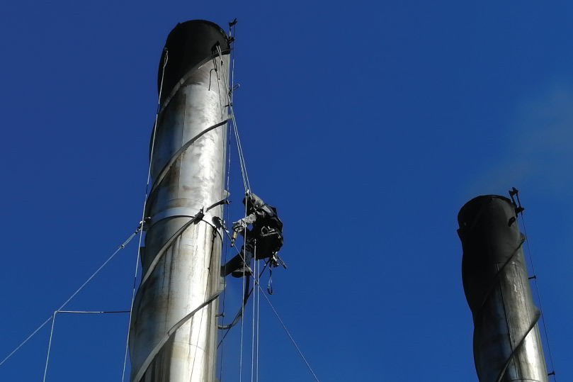Picture showing a Hamcock Crew working on a Goodyear smokestack in Port Elizabeth, South Africa